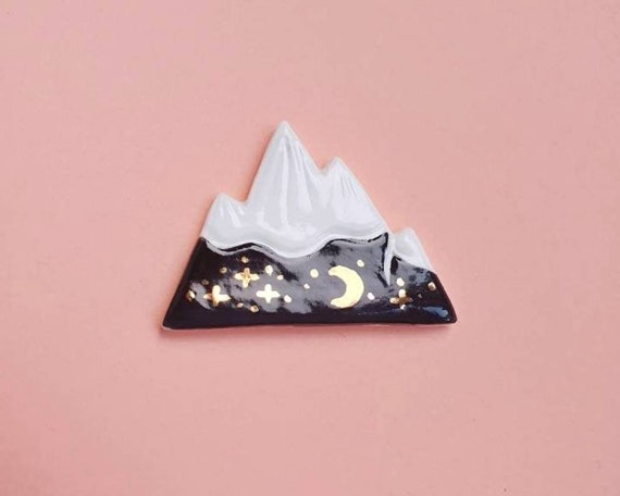Mountain brooch, hand painted ceramic stoneware, genuine 22k gold lustre detail