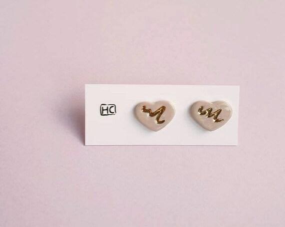 Ceramic heart studs, genuine gold wavy detail, sterling silver posts, stud earrings