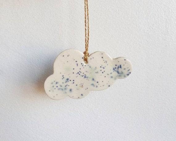 Cloud hanging decoration, handmade, ceramic stoneware, speckled glaze