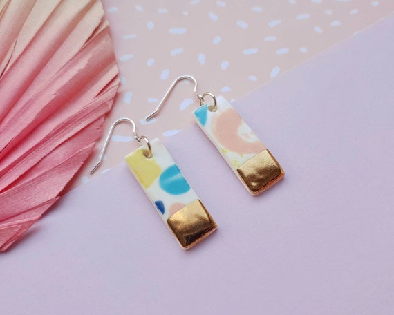Rectangular drop dangles, colourful pastel clay, hand painted genuine gold lustre, sterling silver posts