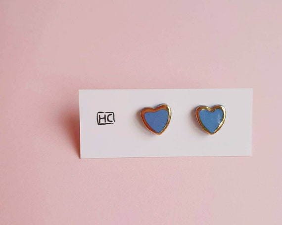 Ceramic heart stud earrings, coloured clay, genuine gold lustre, sterling silver posts
