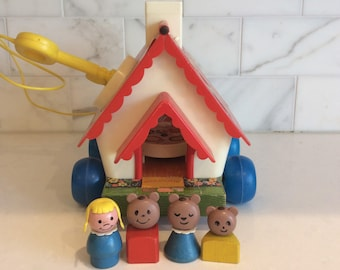 1967 Fisher Price Pull Toy, Goldilocks & the 3 Bears Playhouse w/ NEW Litho