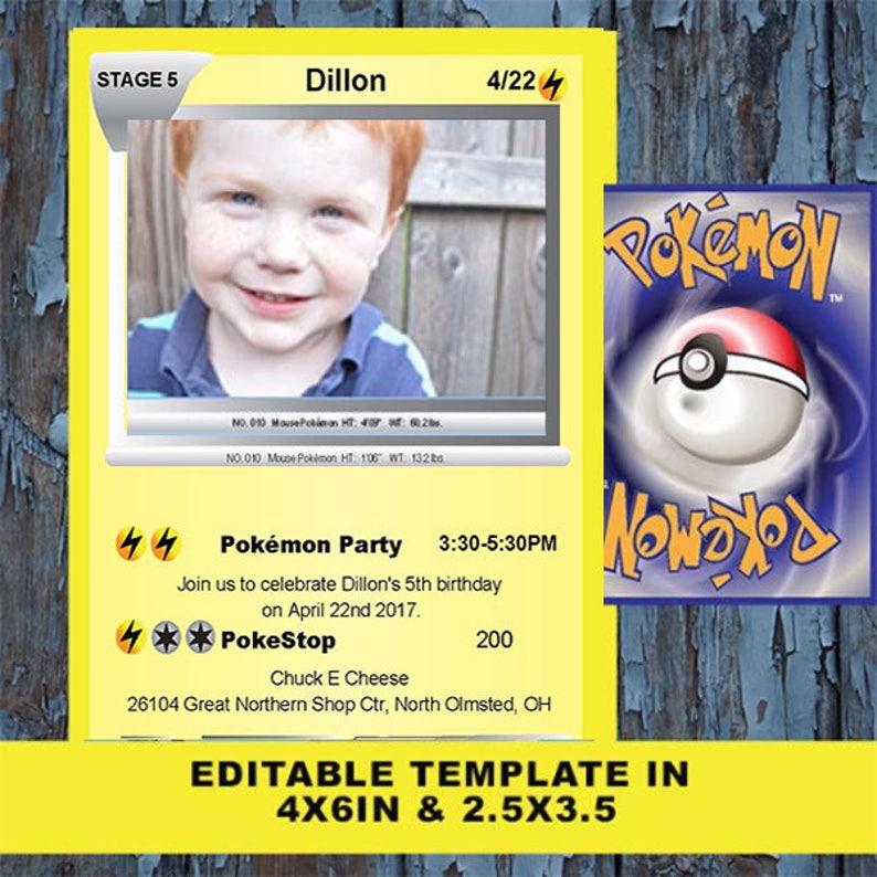 Pokemon Birthday Invitation Card