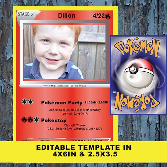 Pokemon Card Birthday Invitation