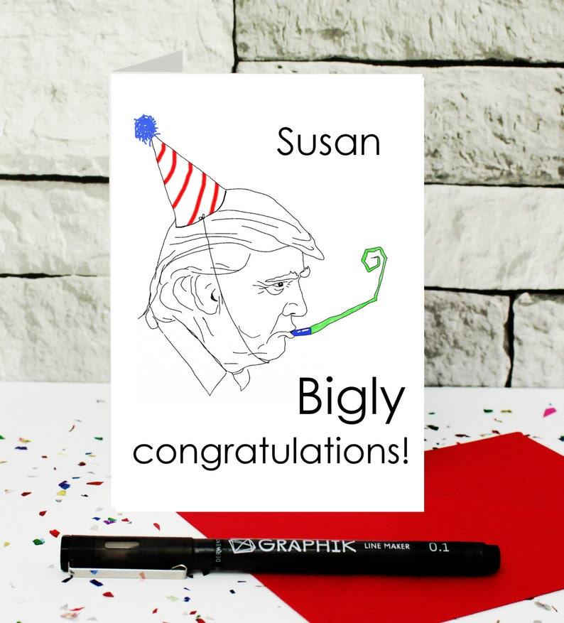 well done new job funny congrats card pregnancy personalised funny card custom congratulations card customised Donald Trump card