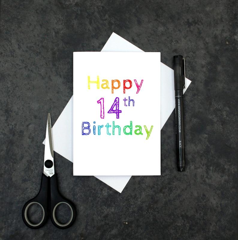 Teenager Mädchen Geburtstag Karte 14 Geburtstagskarte Etsy