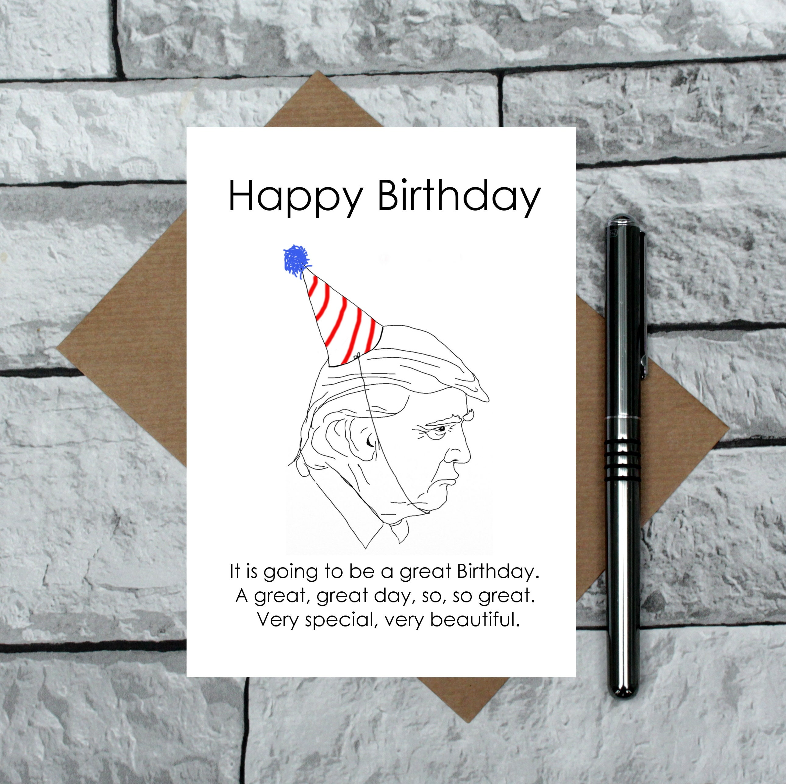Donald Trump Birthday Card Joke Etsy Jpg 2579x2573 Memes Happy