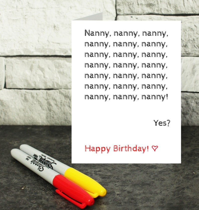 U.K SELLER CUTE NANNIE BIRTHDAY CARD WITH WHITE ENVELOPE