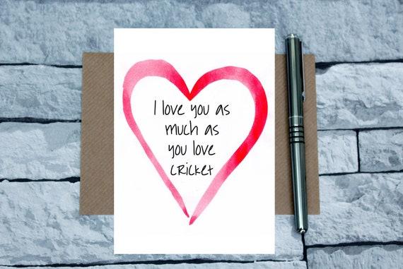 cricket Valentine/'s day card cricket anniversary card Cricket love card