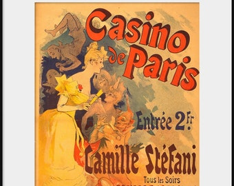 CASINO de PARIS French Music Hall 19th Century Advertising Poster by Jules Cheret NEW Giclee Print Camille Stefani Theater Dancer P84