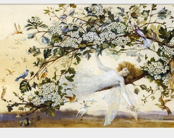 ARIEL by John Anster Fitzgerald Giclee Art Print Poster Fairy Fairies Fae Woodland Fantasy William Shakespeare The Tempest Home Decor P75