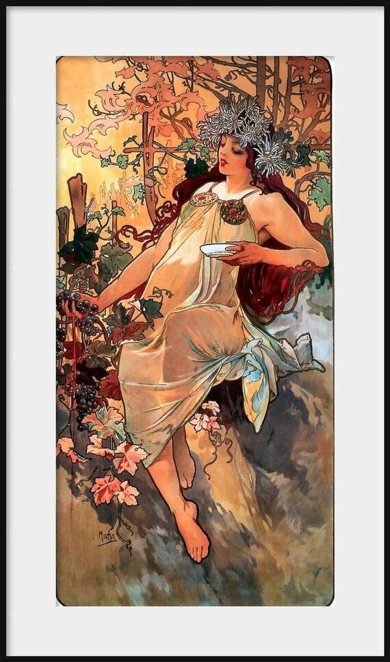 5 Stampa Set Art Nouveau Deco Alphonse Mucha Moet /& Chandon Champagne Da