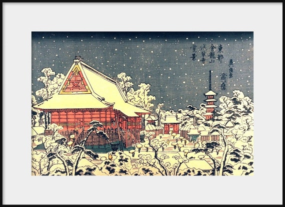 Japanese Woodblock KEISAI EISEN Asakusa Temple in Winter NEW Fine Art Print