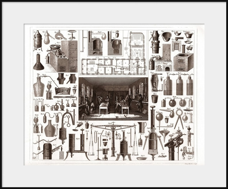 1850 Chemical Laboratory Apparatus Engraving New Fine Art Etsy