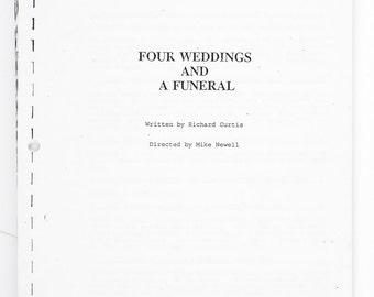 1993 Four Weddings and a Funeral Movie Script Screenplay. Richard Curtis. Vintage Movie Script. Vintage Movie Screenplay.