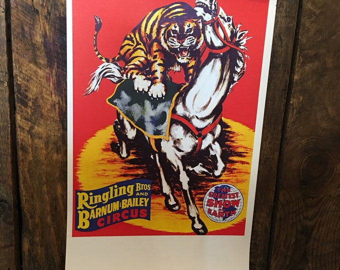 Real vintage circus poster Ringling Bros and Barnum & Bailey Circa 1960