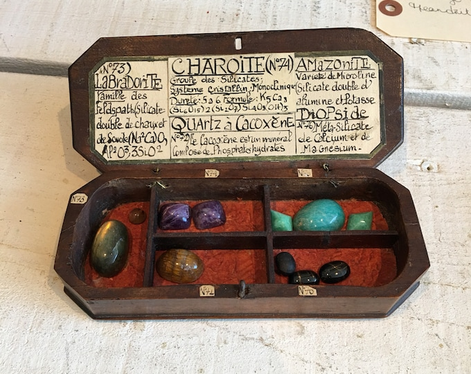 Small wooden box antique collection of rare stones and label