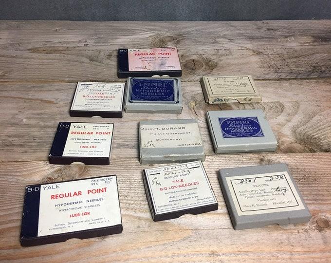 Lot of 10 antique syringe needles boxes B-D Yale, Empire