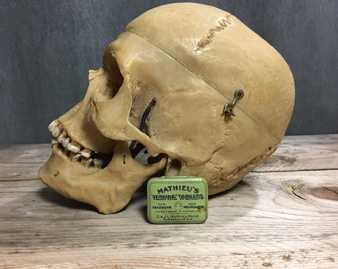 Antique vintage Mathieu's Nervine tablets for headache tin box