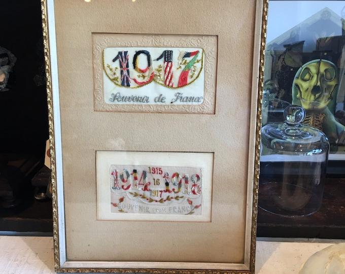 Antique 1918 frame Souvenir de France handmade WWI
