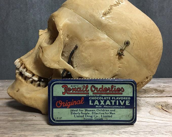 Antique vintage Rexall Ordelies tin box laxative Circa 1930
