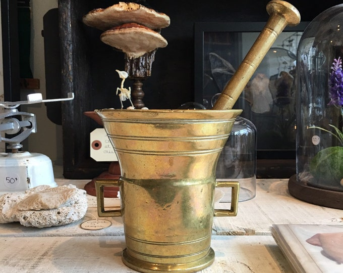 Antique apothecary brass mortar & pestle