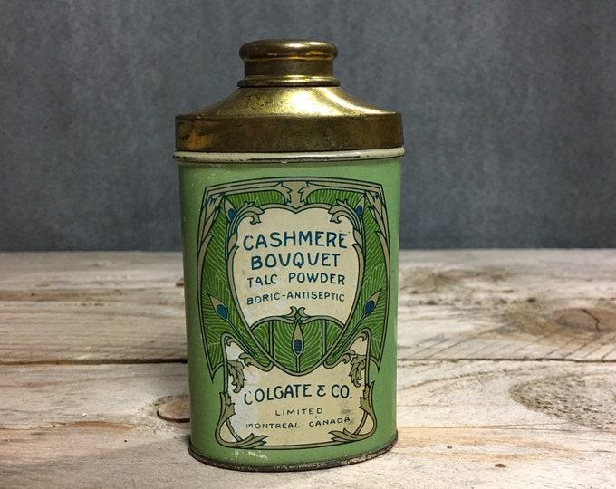 Vintage tin talc powder Colgate Montreal Cashmere Bouquet