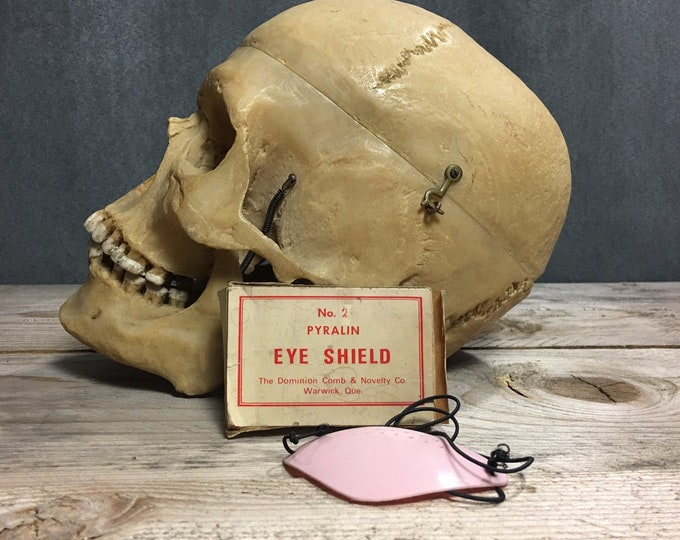 Antique vintage pyralin eye shield with original box