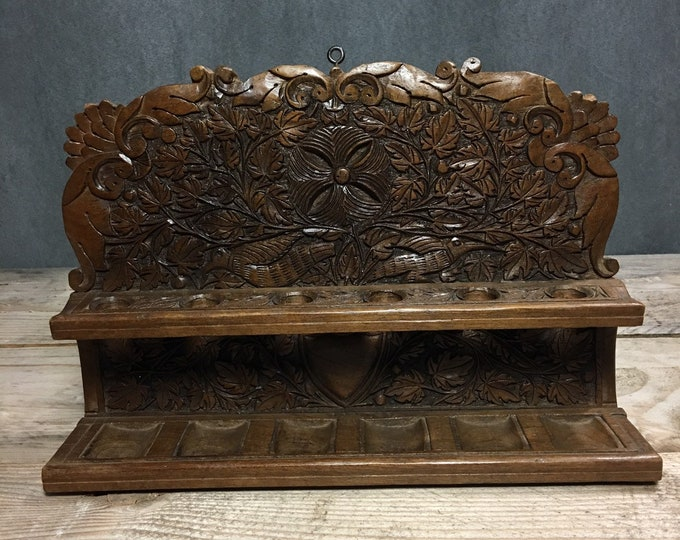 Antique wood carved pipe rack for 6 pipes