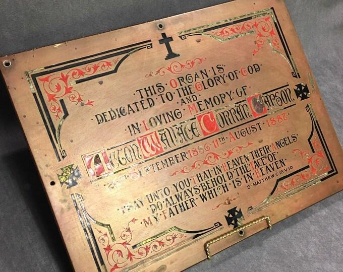 Antique 1887 copper sign dead child mortuary funeral