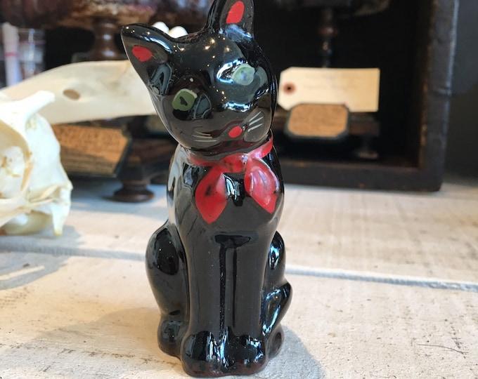 Antique 1950 black cat salt or pepper