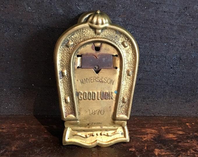 Antique 1870 brass paper clip horseshoe