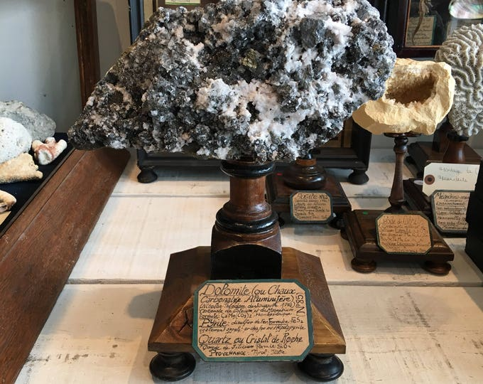 Big dolomite on wood base, antique museum style mounting