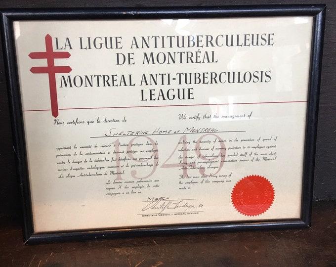 Antique 1949 Montreal Anti-Tuberculosis league certificat
