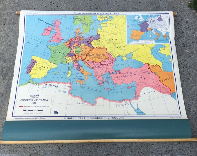 Vintage large Europe map after the congress of Vienna 1815