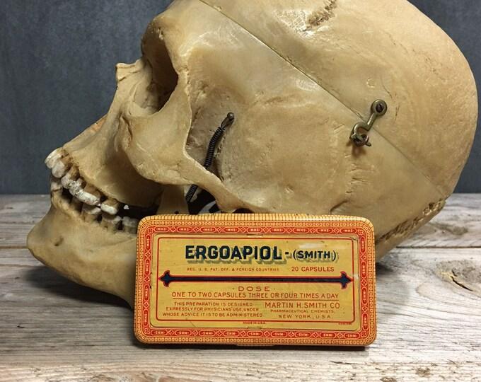 Antique vintage Ergoapiol Smith Pharmaceutical tin box
