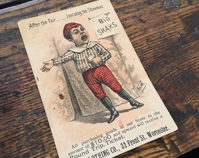 Antique 1880 Bell clothing advertising card litle boy