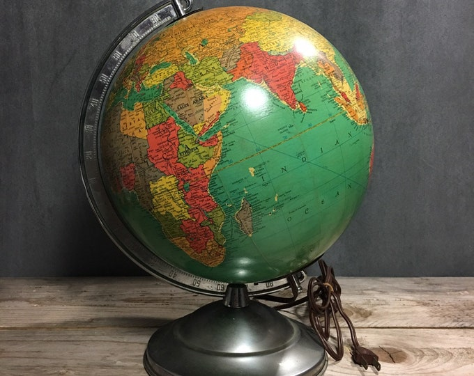 Antique terrestrial glass globe 10 inch Replogle mid century vintage 1950 lamp