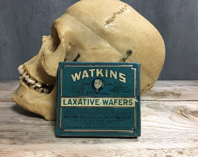 Antique vintage Watkins Laxative Wafers laxative tin box Circa 1920