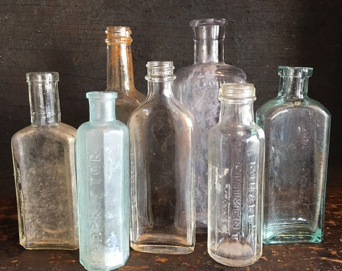 Lot of 7 antique cork & screw top glass bottle purple white blue