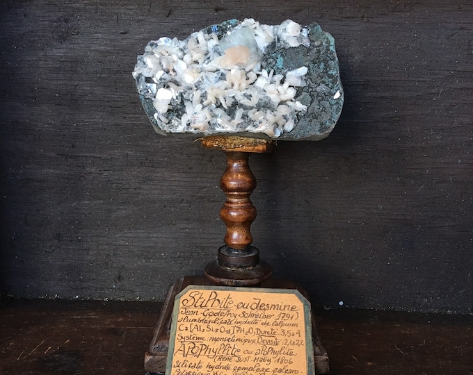Mineral stipbite on wood display, antique French museum style