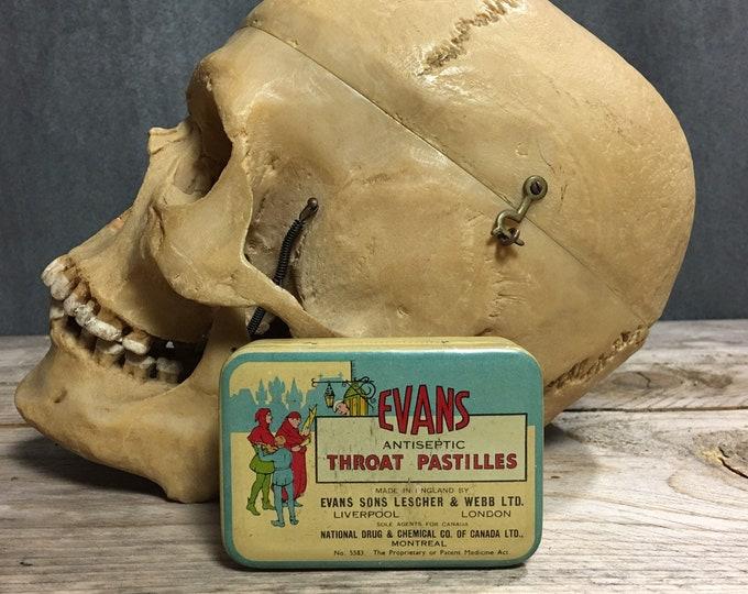 Antique vintage Evans throat pastilles Montreal tin box