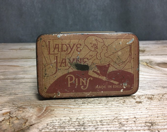 Antique Ladye Jayne pins tin box made in England RARE