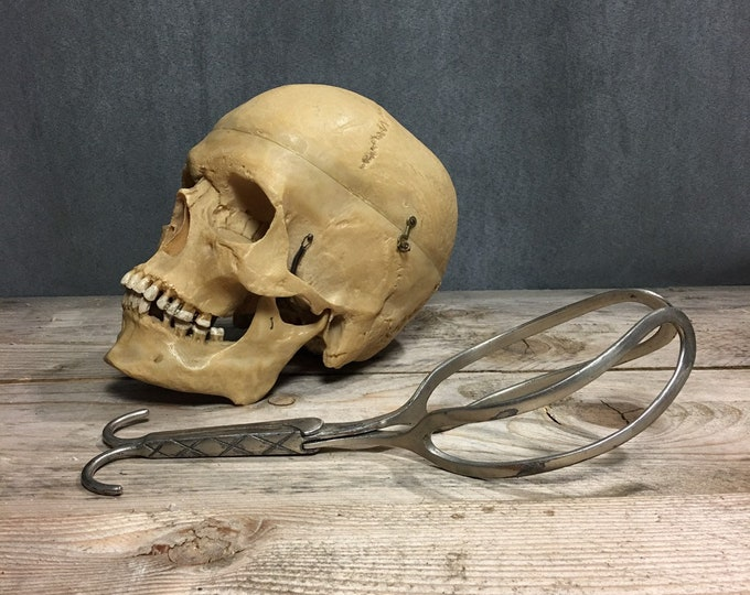 Rare antique forceps small 1800 medical instrument obstetric