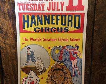 Real vintage circus poster Hanneford Circa 1950