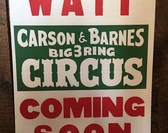 Real vintage circus poster Carson & Barnes Circa 1950