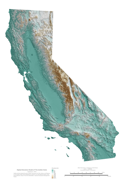 The Golden State Digital Elevation Model   Etsy