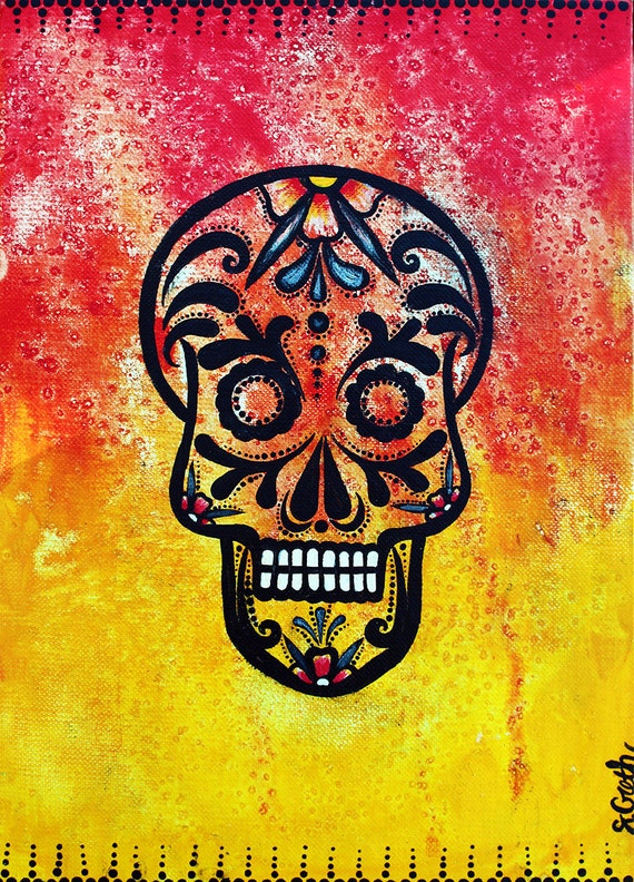 Sugar skull artpainting dia de los muertos mexican folk | Etsy
