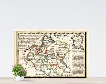 Vintage Map Poland on Paper 1758. Retro Map. Historical Map. Duchy of Lithuania Map