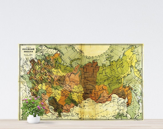 Vintage Russia Map on Paper 1903, Imperial Russia Map, Historical Russia Poster, Map of Eastern Europe, Tsarist Russia Map Unframed
